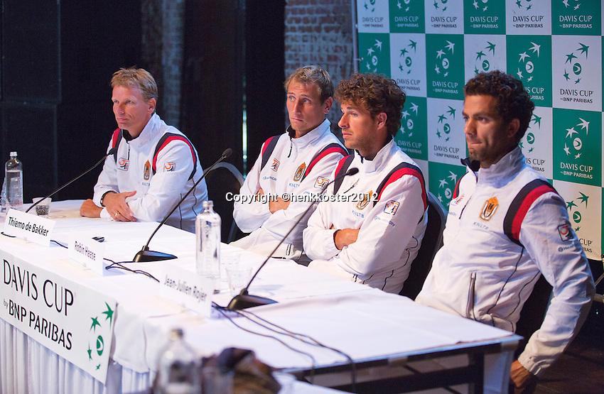 13-09-12, Netherlands, Amsterdam, Tennis, Daviscup Netherlands-Swiss, Draw, Dutch team,: ptr: captain Jan Siemerink, Thiemo de Bakker, Robin Haase and Jean-Julien Rojer.