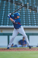 AZL Rangers right fielder Beder Gutierrez (8) at bat during an Arizona League playoff game against the AZL Cubs 1 at Sloan Park on August 29, 2018 in Mesa, Arizona. The AZL Cubs 1 defeated the AZL Rangers 8-7. (Zachary Lucy/Four Seam Images)