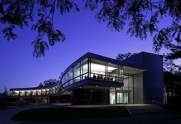 Bard College Center for Science and Computation exterior dusk photograph.