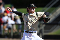 March 7, 2010:  Pitcher Brennan Dobbins of the Central Florida Knights during game at Jay Bergman Field in Orlando, FL.  Central Florida lost to Central Michigan by the score of 7-4.  Photo By Mike Janes/Four Seam Images