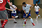 Mannheim, Germany, January 24: During the 1. Bundesliga Herren Hallensaison 2014/15 quarter-final hockey match between Mannheimer HC (white) and Club an der Alster (red) on January 24, 2015 at Irma-Roechling-Halle in Mannheim, Germany. Final score 2-3 (1-2). (Photo by Dirk Markgraf / www.265-images.com) *** Local caption *** Patrick Harris #17 of Mannheimer HC