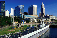 submarine, skyline, Cleveland, OH, Ohio, Downtown skyline of Cleveland, USS Cod Submarine Museum, Lake Erie