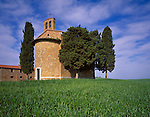 Tuscany, Italy      <br /> Cappella di Vita Leta - a chapel with cypress trees on a hill near Pienza above the Val d'Orcia