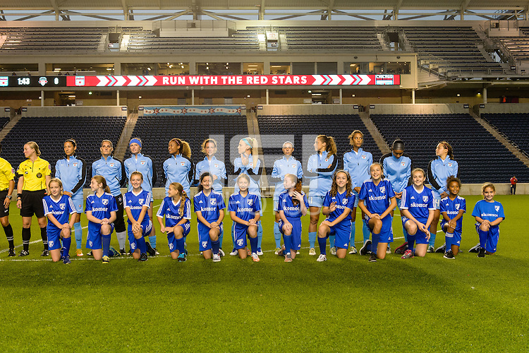 Chicago, IL - Saturday Sept. 24, 2016: Chicago Red Stars Starting XI, player escorts prior to a regular season National Women's Soccer League (NWSL) match between the Chicago Red Stars and the Washington Spirit at Toyota Park.