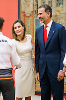 King Felipe VI and Queen Letizia of Spain during an audience with the medalists of the Olympic and Paralympic Spanish team # FELIPE VI ET LITIZIA RECOIVENT LES MEDAILLES OLYMPIQUES