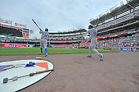 5 September 2011: Los Angeles Dodgers Jamey Carroll (left) and Dee Gordon (right) take practice swings prior to the start of play against the Washington Nationals at Nationals Park in Los Angeles, District of Columbia. The Nationals defeated the Dodgers 7-2 in the first game of their 4-game series. Mandatory Credit: Ed Wolfstein Photo