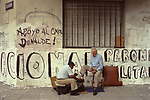 Shoe shine man having his shoes cleaned Buenos Aires Argentina South America 2000s 2002