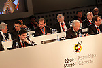 Atletico de Madrid's President Enrique Cerezo (1l),FC Barcelona's President Josep Maria Bartomeu (2l) and Getafe's President Angel Torres (3l) during General Assembly of the Royal Spanish Football Federation. March 22,2016. (ALTERPHOTOS/Acero)