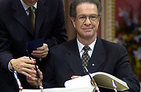 Quebec (QC) CANADA -March 8 2001 file photo - Remy Trudel become Minister while<br /> Bernard Landry is sworm as Quebec Premier, replacing Lucien Bouchard who also stepped down as PQ leader