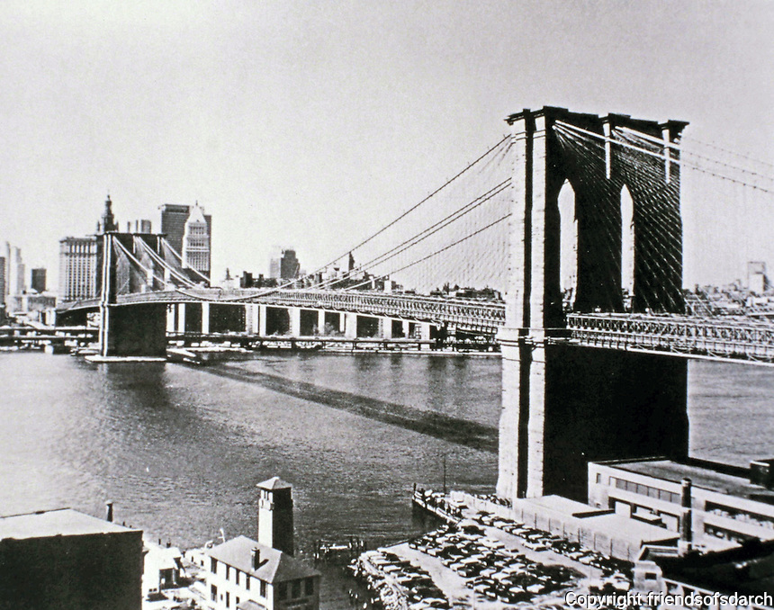 Brooklyn Bridge in New York City--cable-suspension bridge. Completed in 1883 and spans the East River between Manhattan and Brooklyn boroughs.