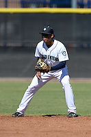 Seattle Mariners shortstop Rayder Ascanio (1) during an Instructional League game against the Milwaukee Brewers on October 4, 2014 at Peoria Stadium Training Complex in Peoria, Arizona.  (Mike Janes/Four Seam Images)