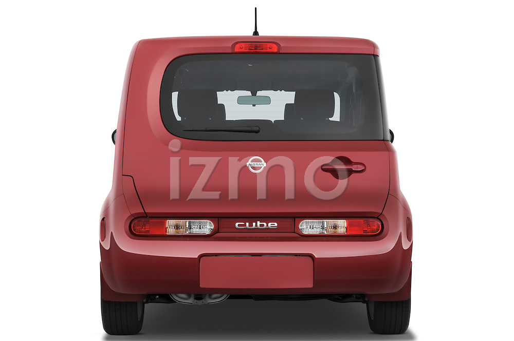 Straight rear view of a 2009 Nissan Cube SL