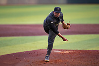 Vanderbilt Commodores starting pitcher Kumar Rocker (80) delivers a pitch to the plate against the Tennessee Volunteers on Robert M. Lindsay Field at Lindsey Nelson Stadium on April 16, 2021, in Knoxville, Tennessee. (Danny Parker/Four Seam Images)