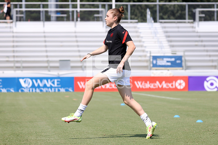 CARY, NC - SEPTEMBER 12: Olivia Moultrie #42 of the Portland Thorns FC warms up before a game between Portland Thorns FC and North Carolina Courage at Sahlen's Stadium at WakeMed Soccer Park on September 12, 2021 in Cary, North Carolina.