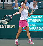 Samantha Stosur (AUS) loses to Lucie Safarova  3-6, 6-4, 6-4 at the Family Circle Cup in Charleston, South Carolina on April 3, 2014.