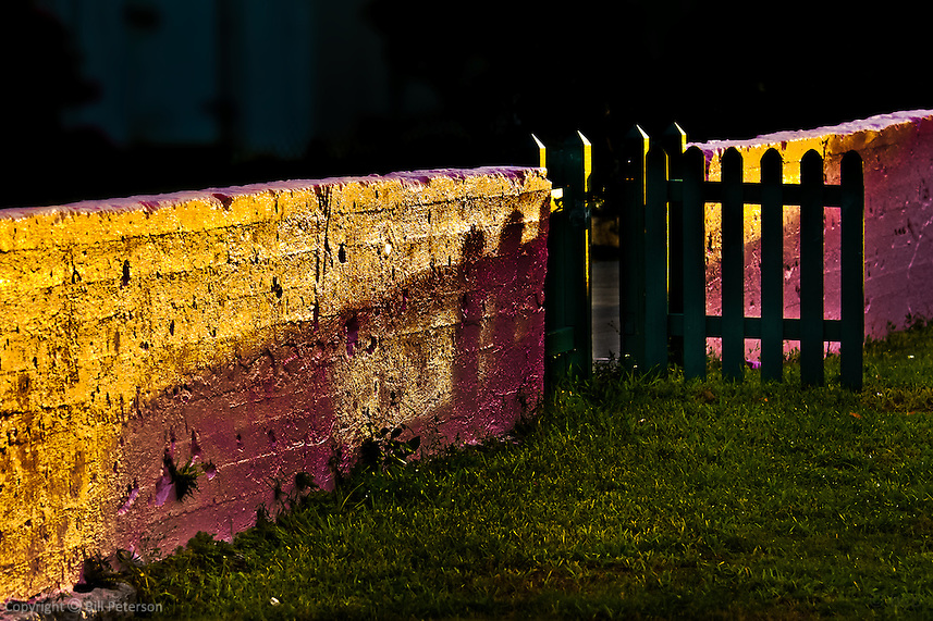 Sunset casting of long shadows glimmers in this artful digital treatment of an old wall on the island of Green Turtle in the Abacos, Family Islands, Bahamas
