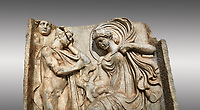 Close up of a Roman Sebasteion relief  sculpture of Anchises and Aphrodite Aphrodisias Museum, Aphrodisias, Turkey. <br /> <br /> The Trojan shepherd Anchises gazes at the seated Aphrodite, his lover for one night on mount Ida. She hold a small Eros on her lap: this is an erotic encounter. The head of Selene (Moon) appears above the mountain rocks: she indicates night time. It was from this union that Aineas was born