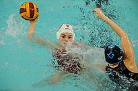 20200126 - GENT, BELGIUM : Gentse's (9) Laura Vandaele and Eeklo's (13) Anke Van De Velde pictured during the waterpolo game Gentse KGZV and Eeklo MVZ , waterpolo game between Gentse KGZV and Eelko MVZ , at swimming pool Strop in Gent , saturday 1 th February 2020 . PHOTO SPORTPIX.BE | STIJN AUDOOREN