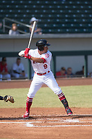 Mesa Solar Sox second baseman Jahmai Jones (9), of the Los Angeles Angels organization, at bat during an Arizona Fall League game against the Peoria Javelinas at Sloan Park on October 24, 2018 in Mesa, Arizona. Mesa defeated Peoria 4-3. (Zachary Lucy/Four Seam Images)
