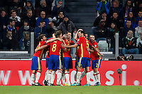 Spain Vitolo, center, celebrates with teammates after scoring during the Fifa World Cup 2018 qualification soccer match between Italy and Spain at Turin's Juventus Stadium, October 6, 2016. The game ended 1-1.<br /> UPDATE IMAGES PRESS/Isabella Bonotto