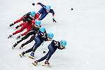 Da Woon Sin of Korea being followed during the Short Track Speed Skating as part of the 2014 Sochi Olympic Winter Games at Iceberg Skating Palace on February 10, 2014 in Sochi, Russia. Photo by Victor Fraile / Power Sport Images