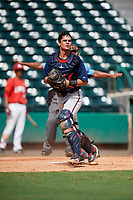 Atlanta Braves catcher Ray Soderman (72) prepares to throw to first base during a Florida Instructional League game against the Canadian Junior National Team on October 9, 2018 at the ESPN Wide World of Sports Complex in Orlando, Florida.  (Mike Janes/Four Seam Images)