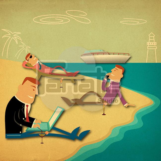 Business executives on the beach