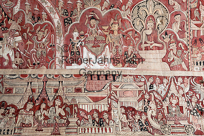 Myanmar (Burma), Sagaing-Division, near Monywa: Hpo Win Daung (Buddha cave-niche complex). Colourful mural on wall of carved out cave   Myanmar (Birma), Sagaing-Division, bei Monywa: Hpo Win Daung - Wandmalereien in einer in Stein gehauenen Hoehle
