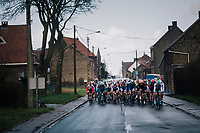 approaching peloton<br /> <br /> 51th Le Samyn 2019 <br /> Quaregnon to Dour (BEL): 200km<br /> <br /> ©kramon