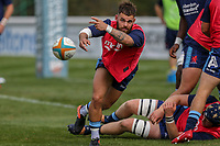 Ed Hoadley of London Scottish warms up for the Greene King IPA Championship match between London Scottish Football Club and Ealing Trailfinders at Richmond Athletic Ground, Richmond, United Kingdom on 8 September 2018. Photo by David Horn.
