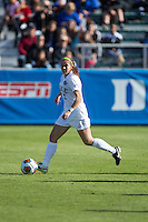 Cary, North Carolina - Sunday December 6, 2015: Cassie Pecht (11) of the Duke Blue Devils controls the ball during first half action against the Penn State Nittany Lions at the 2015 NCAA Women's College Cup at WakeMed Soccer Park.  The Nittany Lions defeated the Blue Devils 1-0.
