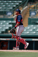 GCL Red Sox catcher Oscar Rangel (39) during a Gulf Coast League game against the GCL Orioles on July 29, 2019 at Ed Smith Stadium in Sarasota, Florida.  GCL Red Sox defeated the GCL Pirates 9-1.  (Mike Janes/Four Seam Images)