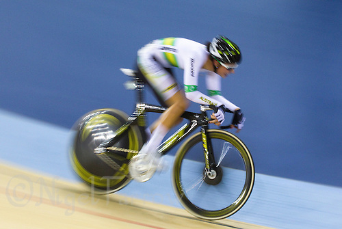 17 FEB 2012 - LONDON, GBR - Australia's Melissa Hoskins (AUS) competing during the Women's Scratch Race during the UCI Track Cycling World Cup, and London Prepares test event for the 2012 Olympic Games, in the Olympic Park Velodrome in Stratford, London, Great Britain (PHOTO (C) 2012 NIGEL FARROW)