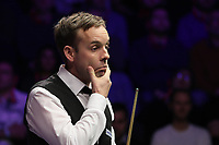 19th january 2020, Alexandra palace, London, United Kingdom;  Ali Carter of England gestures during the final match against Stuart Bingham of England at Snooker Masters 2020 at the Alexandra Palace in London