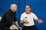 Sergio Scariolo (r) and Denver Nugget's Coach Michael Malone during the training of Spanish National Team of Basketball. August 06, 2019. (ALTERPHOTOS/Francis González)