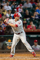 Philadelphia Phillies pinch hitter Darin Ruf #18 at bat during the Major League baseball game against the Houston Astros on September 16th, 2012 at Minute Maid Park in Houston, Texas. The Astros defeated the Phillies 7-6. (Andrew Woolley/Four Seam Images).