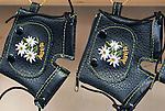 Austria, leather paints for souvenirs   Oesterreich, Tirol, Lederhosen in Miniatur als Souvenirs
