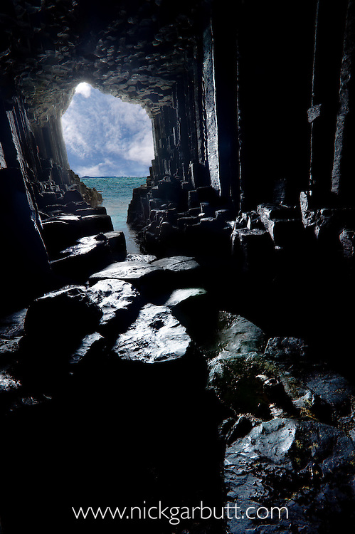 The view from inside Fingal's Cave, Isle of Staffa, off the Isle of Mull, Scotland.