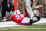 Southern Methodist Mustangs defensive back Shakiel Randolph (28) in action during the game between the Texas A&M Aggies and the SMU Mustangs at the Gerald J. Ford Stadium in Fort Worth, Texas. A&M leads SMU 38 to 3 at halftime.