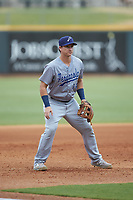 Pensacola Blue Wahoos third baseman Brian Schales (14) on defense against the Birmingham Barons at Regions Field on July 7, 2019 in Birmingham, Alabama. The Barons defeated the Blue Wahoos 6-5 in 10 innings. (Brian Westerholt/Four Seam Images)