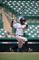Pittsburgh Pirates Jeremias Portorreal (51) follows through on a swing during an Instructional League game against the Baltimore Orioles on September 27, 2017 at Ed Smith Stadium in Sarasota, Florida.  (Mike Janes/Four Seam Images)