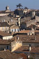 View over the town. The town. From Chateau Ausone vineyard. Saint Emilion, Bordeaux, France