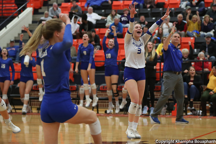 Boswell beats Burleson 25-12, 25-19, 21-25, 25-21 in the regional quarterfinal playoff at Aledo High School on Tuesday, November 12 2019. (Photo by Khampha Bouaphanh)