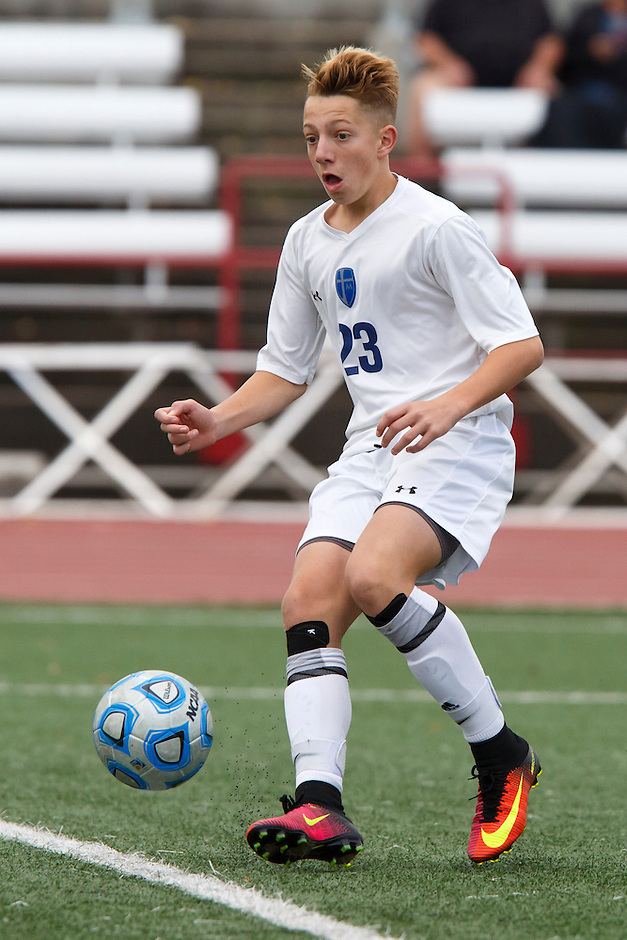Mishawaka Marian's Edward Morrison (23) plays the ball against Providence during the IHSAA Class A Boys Soccer State Championship Game on Saturday, Oct. 29, 2016, at Carroll Stadium in Indianapolis. Marian won 4-0. Special to the Tribune/JAMES BROSHER