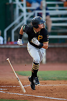 Bristol Pirates right fielder Conner Uselton (25) runs to first base during a game against the Elizabethton Twins on July 28, 2018 at Joe O'Brien Field in Elizabethton, Tennessee.  Elizabethton defeated Bristol 5-0.  (Mike Janes/Four Seam Images)