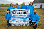 St. Brendans AC Ardfertlaunching the Banna 10k & 5k run on Friday evening in Banna and it will be held on again on Sunday August 8th. Kneeling l to r: Deirdre Courtney and John Clifford. Standing l to r: Moira Horgan, Linda O'Sullivan, Dave Kissane, Ursala Barrett.