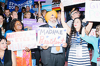 The California delegation cheers during a speech at the Democratic National Convention at the Wells Fargo Center in Philadelphia, Pennsylvania, on Wed., July 27, 2016.