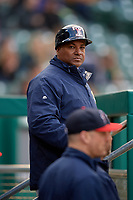 Toledo Mud Hens coach Basilio Cabrera (30) during a game against the Indianapolis Indians on May 2, 2017 at Victory Field in Indianapolis, Indiana.  Indianapolis defeated Toledo 9-2.  (Mike Janes/Four Seam Images)