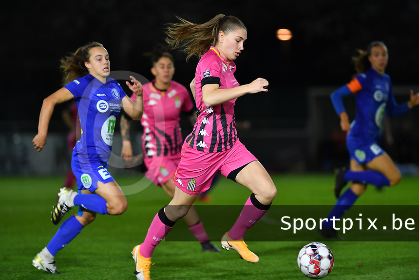 Estelle Dessilly (13 Charleroi) pictured running past Jasmien Mathys (12 Gent) during a female soccer game between  AA Gent Ladies and Sporting Charleroi Feminin on the fifth matchday of the 2020 - 2021 season of Belgian Scooore Womens Super League , friday 16 th of October 2020  in Oostakker , Belgium . PHOTO SPORTPIX.BE | SPP | DAVID CATRY