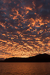 Great Barrier Reef, Australia; pink clouds fill the sky at sunrise near the entrance to Cairns harbor